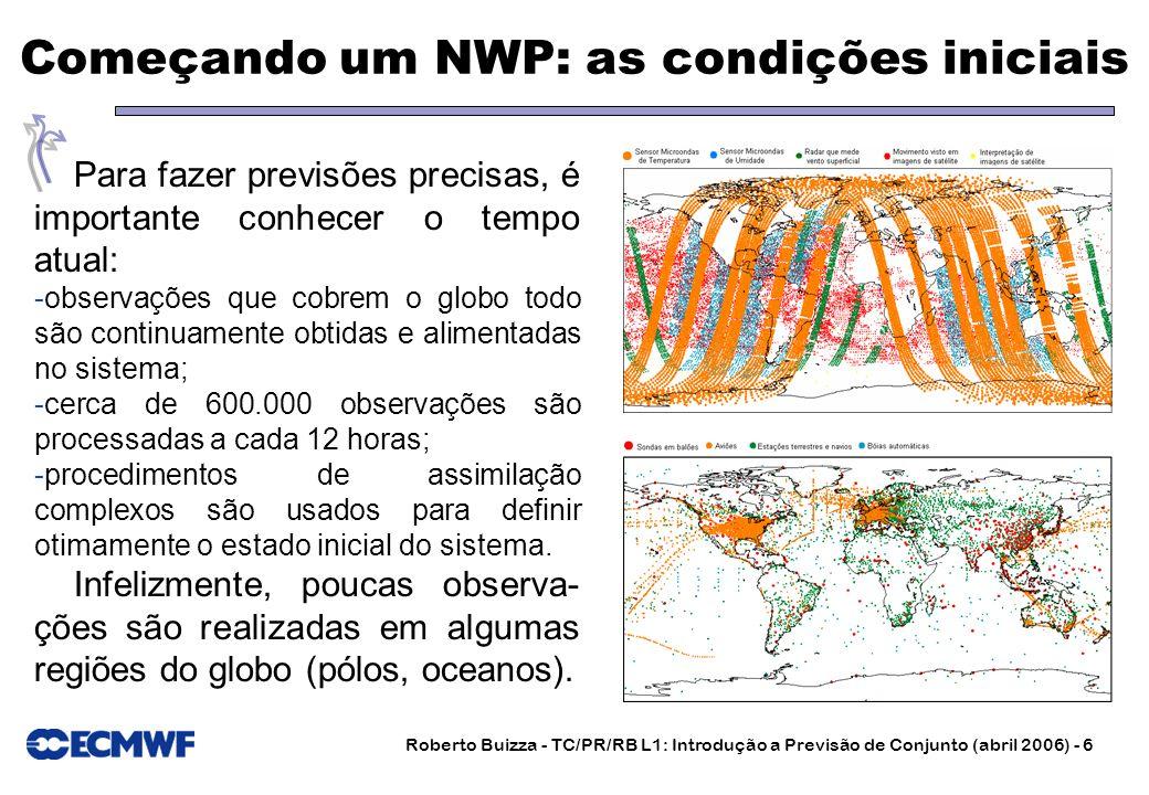 Roberto Buizza - TC/PR/RB L1: Introdução a Previsão de Conjunto (abril 2006) - 6 Começando um NWP: as condições iniciais Para fazer previsões precisas