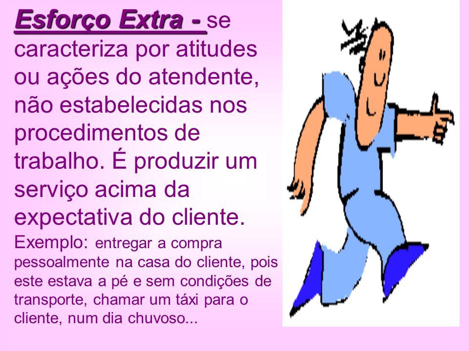 Esforço Extra - Esforço Extra - se caracteriza por atitudes ou ações do atendente, não estabelecidas nos procedimentos de trabalho. É produzir um serv