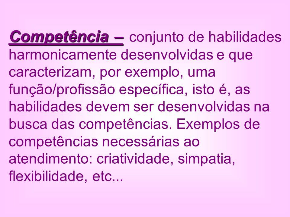 Competência – Competência – conjunto de habilidades harmonicamente desenvolvidas e que caracterizam, por exemplo, uma função/profissão específica, ist