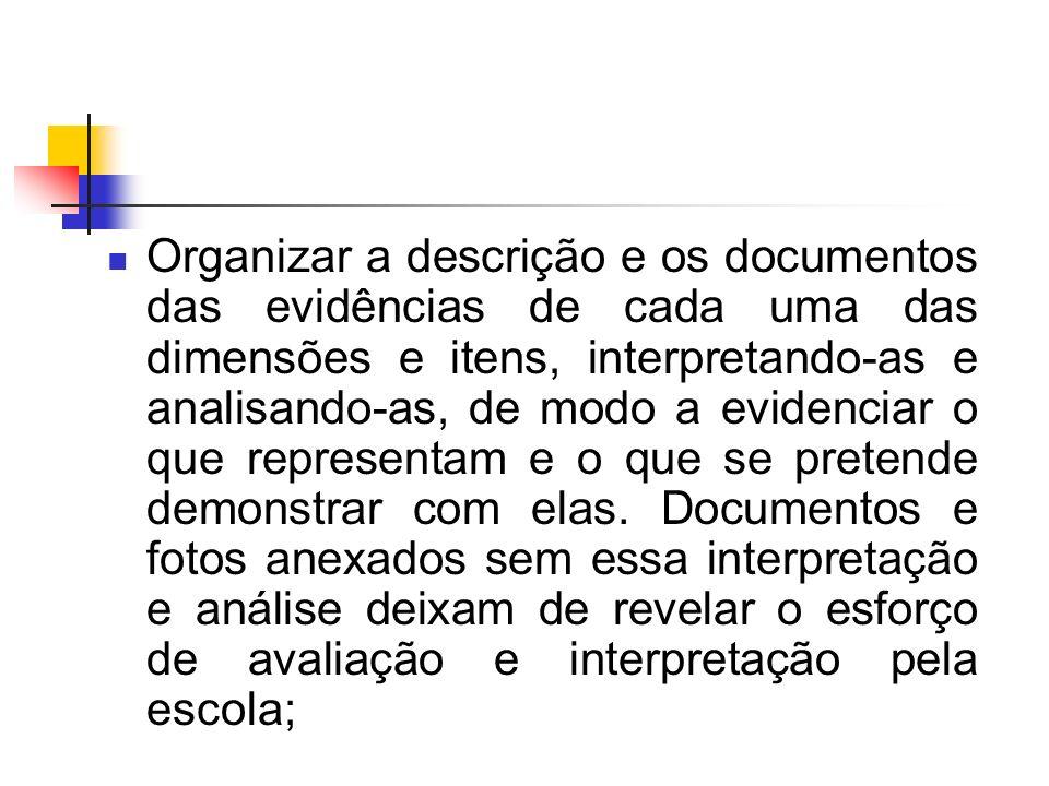 Organizar a descrição e os documentos das evidências de cada uma das dimensões e itens, interpretando-as e analisando-as, de modo a evidenciar o que representam e o que se pretende demonstrar com elas.