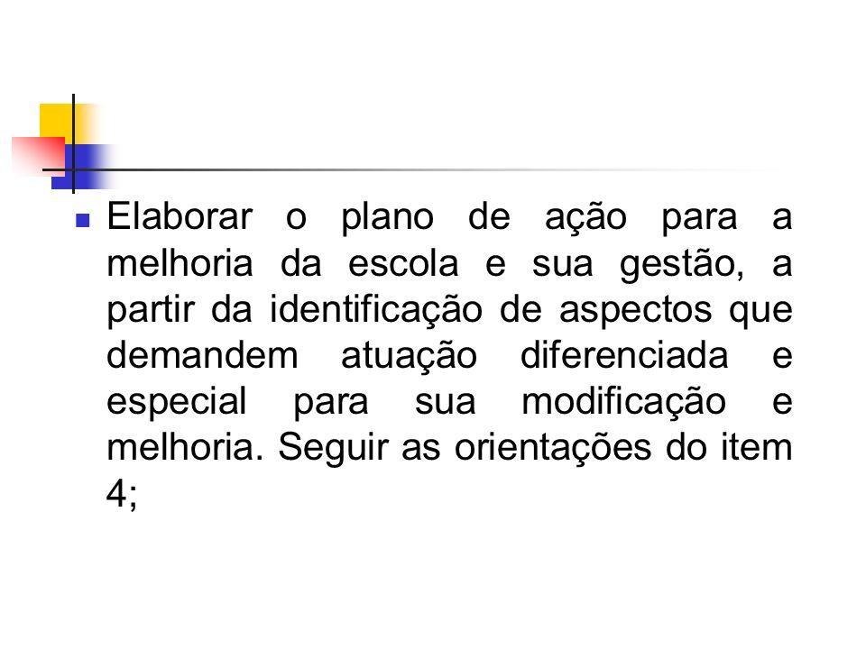 Elaborar o plano de ação para a melhoria da escola e sua gestão, a partir da identificação de aspectos que demandem atuação diferenciada e especial pa