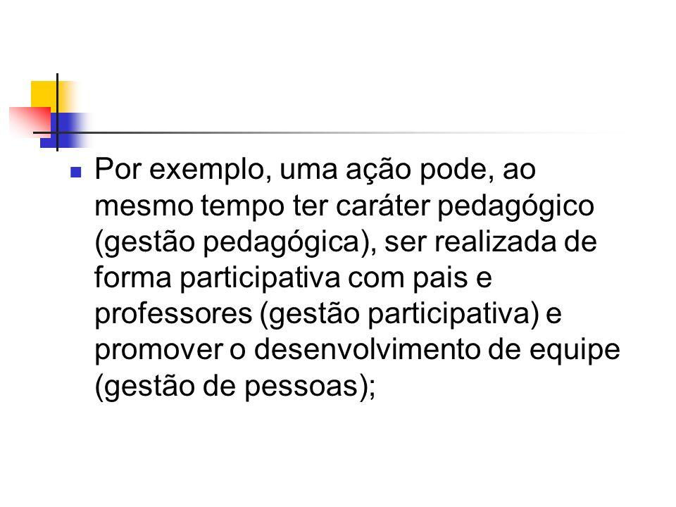 Por exemplo, uma ação pode, ao mesmo tempo ter caráter pedagógico (gestão pedagógica), ser realizada de forma participativa com pais e professores (gestão participativa) e promover o desenvolvimento de equipe (gestão de pessoas);