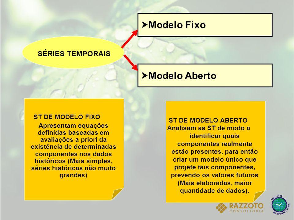 Modelo Fixo Modelo Aberto SÉRIES TEMPORAIS ST DE MODELO FIXO Apresentam equações definidas baseadas em avaliações a priori da existência de determinad