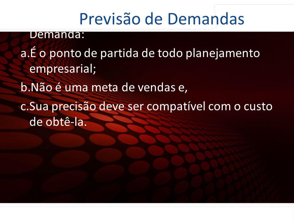 euler@imvnet.com.br | www.slideshare.net/eulernogueira Características básicas da previsão de Demanda: a.É o ponto de partida de todo planejamento emp