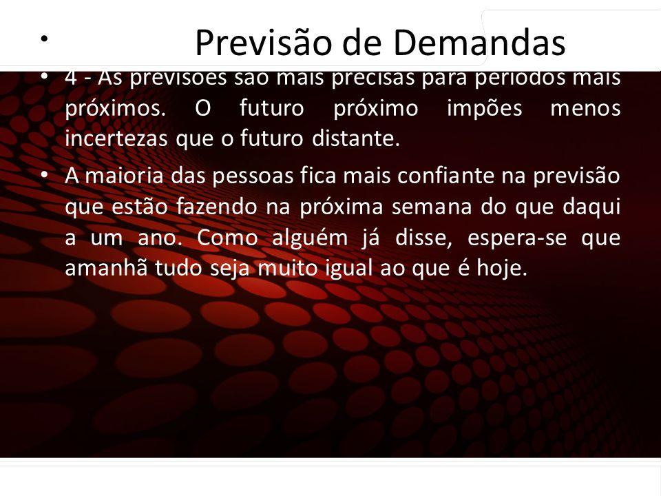euler@imvnet.com.br | www.slideshare.net/eulernogueira Princípios de previsão… 4 - As previsões são mais precisas para períodos mais próximos. O futur