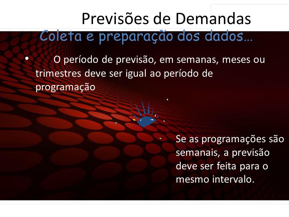 euler@imvnet.com.br | www.slideshare.net/eulernogueira O período de previsão, em semanas, meses ou trimestres deve ser igual ao período de programação