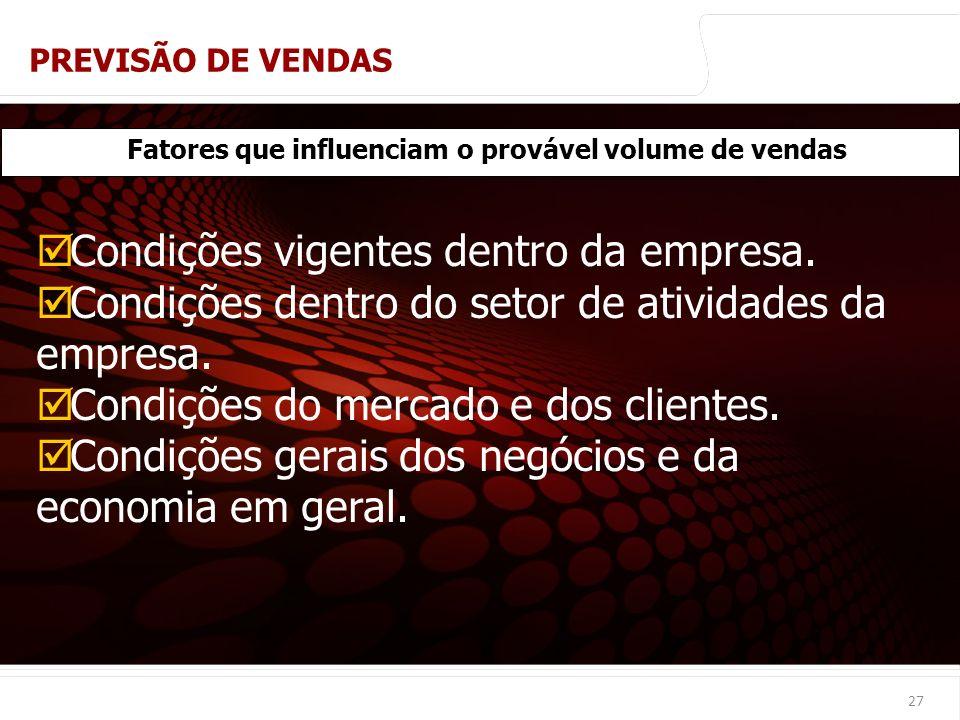 euler@imvnet.com.br | www.slideshare.net/eulernogueira 27 Fatores que influenciam o provável volume de vendas Condições vigentes dentro da empresa. Co