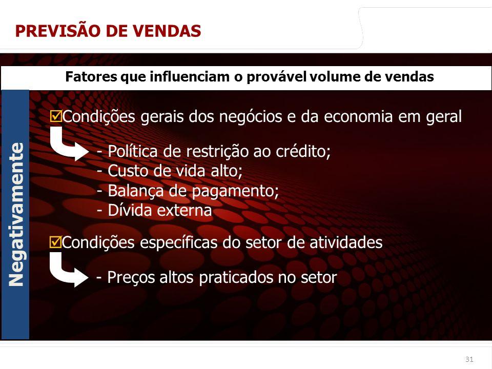 euler@imvnet.com.br | www.slideshare.net/eulernogueira 31 Fatores que influenciam o provável volume de vendas Condições gerais dos negócios e da econo