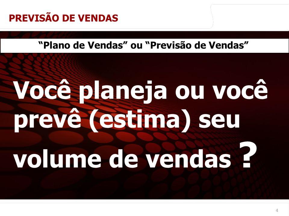 euler@imvnet.com.br | www.slideshare.net/eulernogueira 4 Plano de Vendas ou Previsão de Vendas Você planeja ou você prevê (estima) seu volume de venda