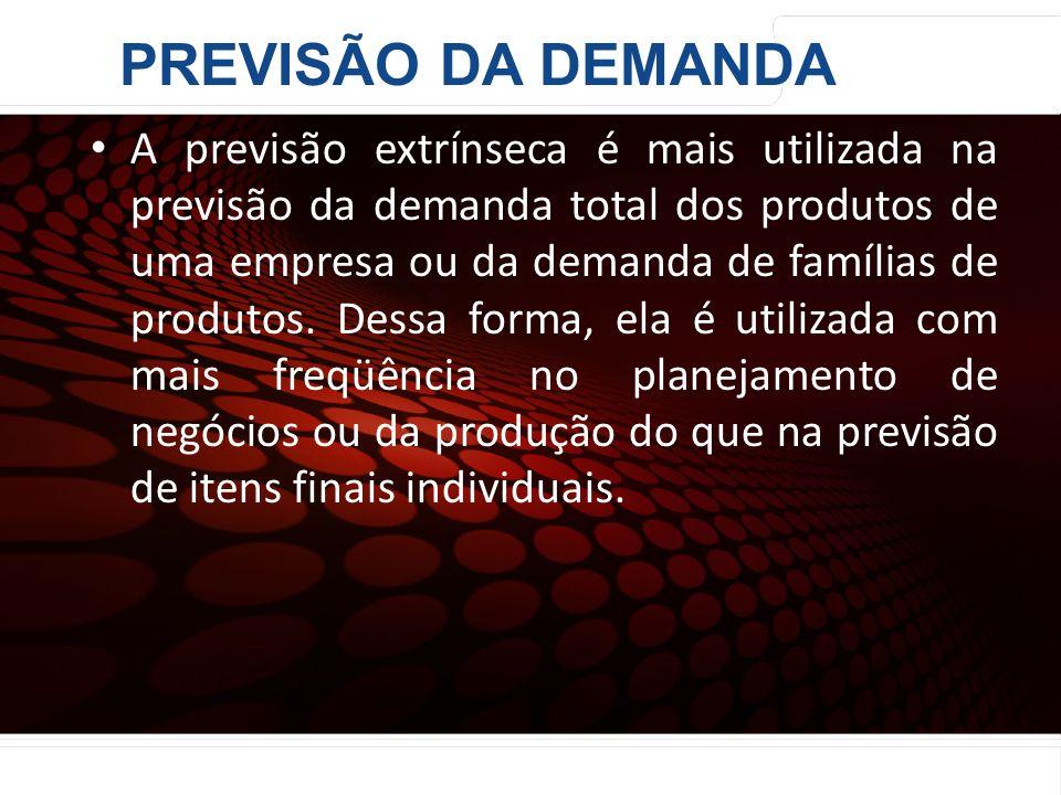 euler@imvnet.com.br | www.slideshare.net/eulernogueira A previsão extrínseca é mais utilizada na previsão da demanda total dos produtos de uma empresa