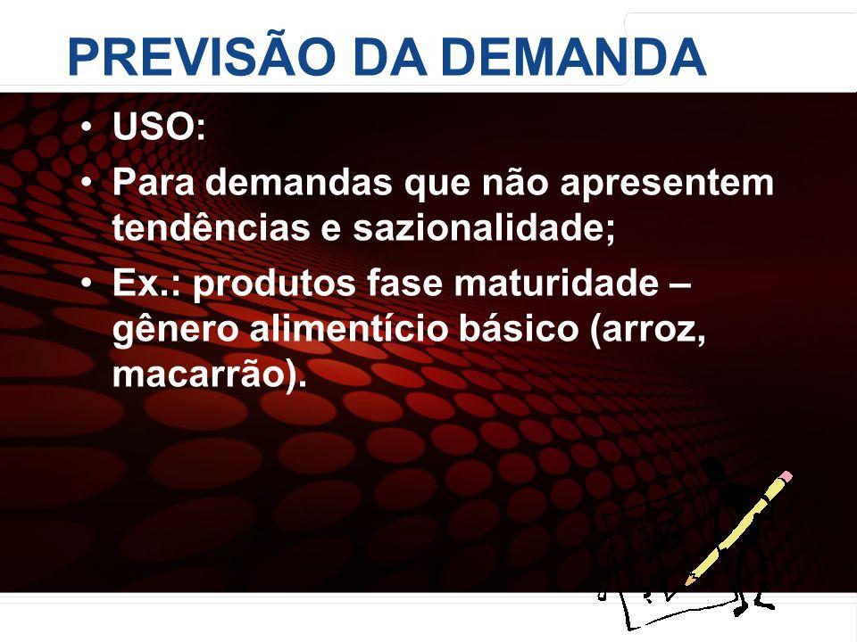 euler@imvnet.com.br | www.slideshare.net/eulernogueira USO: Para demandas que não apresentem tendências e sazionalidade; Ex.: produtos fase maturidade