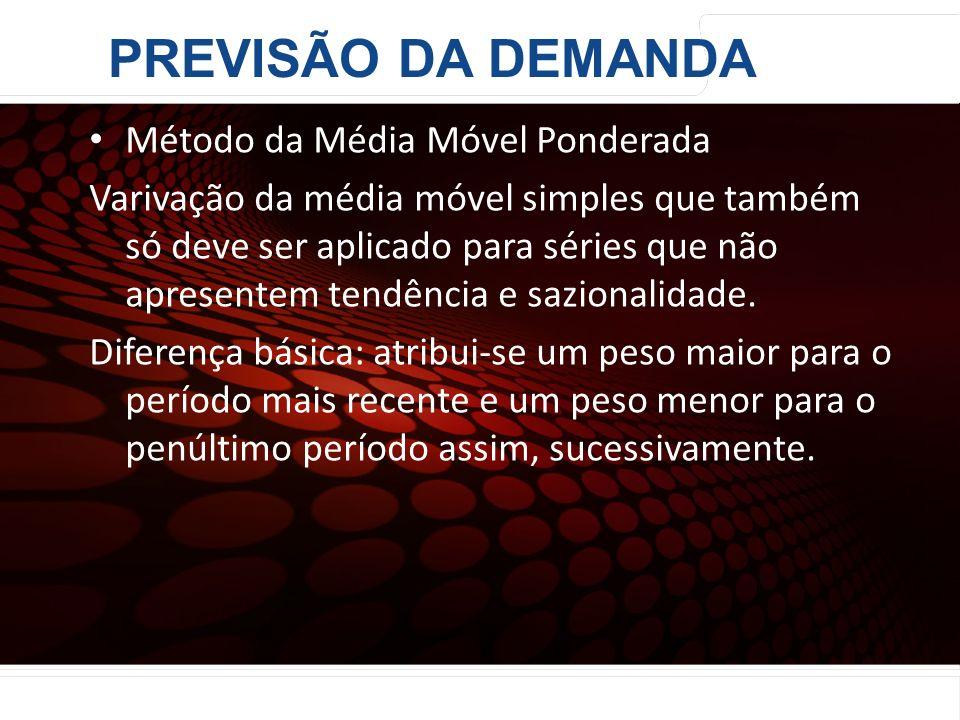 euler@imvnet.com.br | www.slideshare.net/eulernogueira Método da Média Móvel Ponderada Varivação da média móvel simples que também só deve ser aplicad