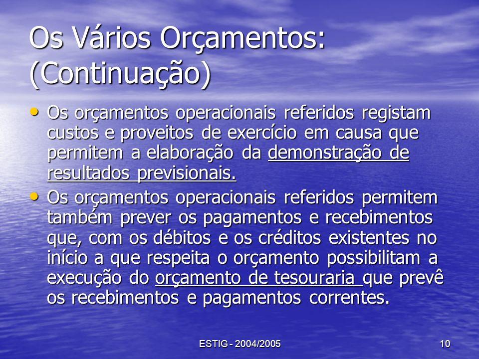 ESTIG - 2004/200510 Os Vários Orçamentos: (Continuação) Os orçamentos operacionais referidos registam custos e proveitos de exercício em causa que per