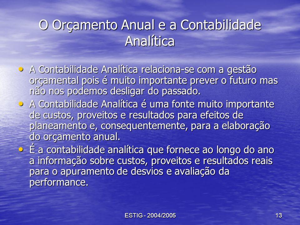 ESTIG - 2004/200513 O Orçamento Anual e a Contabilidade Analítica A Contabilidade Analítica relaciona-se com a gestão orçamental pois é muito importan