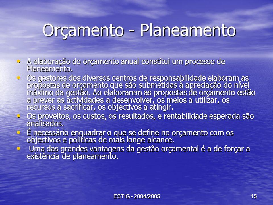 ESTIG - 2004/200515 Orçamento - Planeamento Orçamento - Planeamento A elaboração do orçamento anual constitui um processo de Planeamento. A elaboração