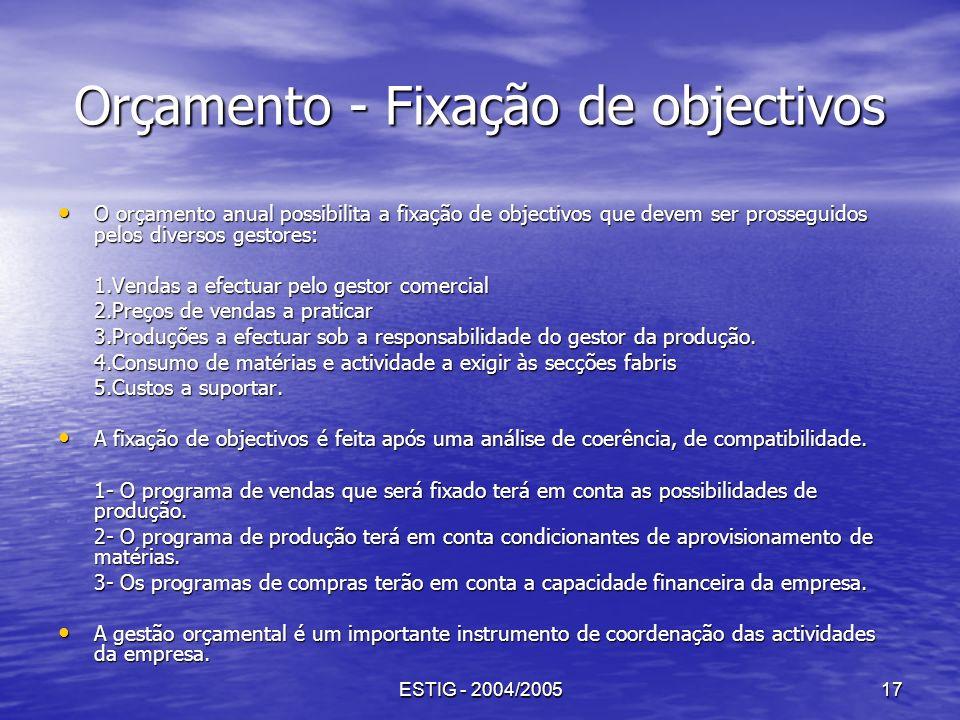 ESTIG - 2004/200517 Orçamento - Fixação de objectivos O orçamento anual possibilita a fixação de objectivos que devem ser prosseguidos pelos diversos