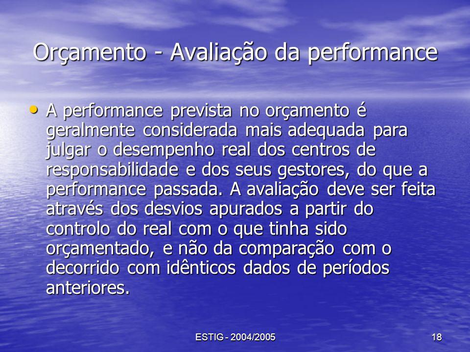 ESTIG - 2004/200518 Orçamento - Avaliação da performance A performance prevista no orçamento é geralmente considerada mais adequada para julgar o dese