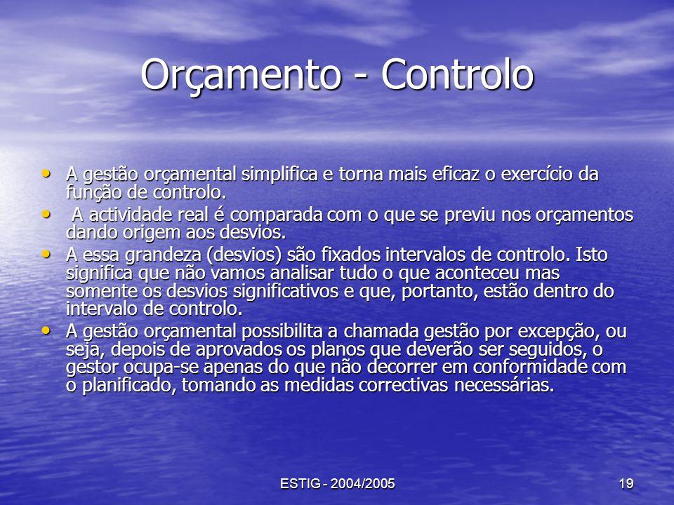 ESTIG - 2004/200519 Orçamento - Controlo A gestão orçamental simplifica e torna mais eficaz o exercício da função de controlo. A gestão orçamental sim