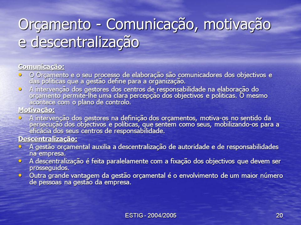 ESTIG - 2004/200520 Orçamento - Comunicação, motivação e descentralização Comunicação: O Orçamento e o seu processo de elaboração são comunicadores do