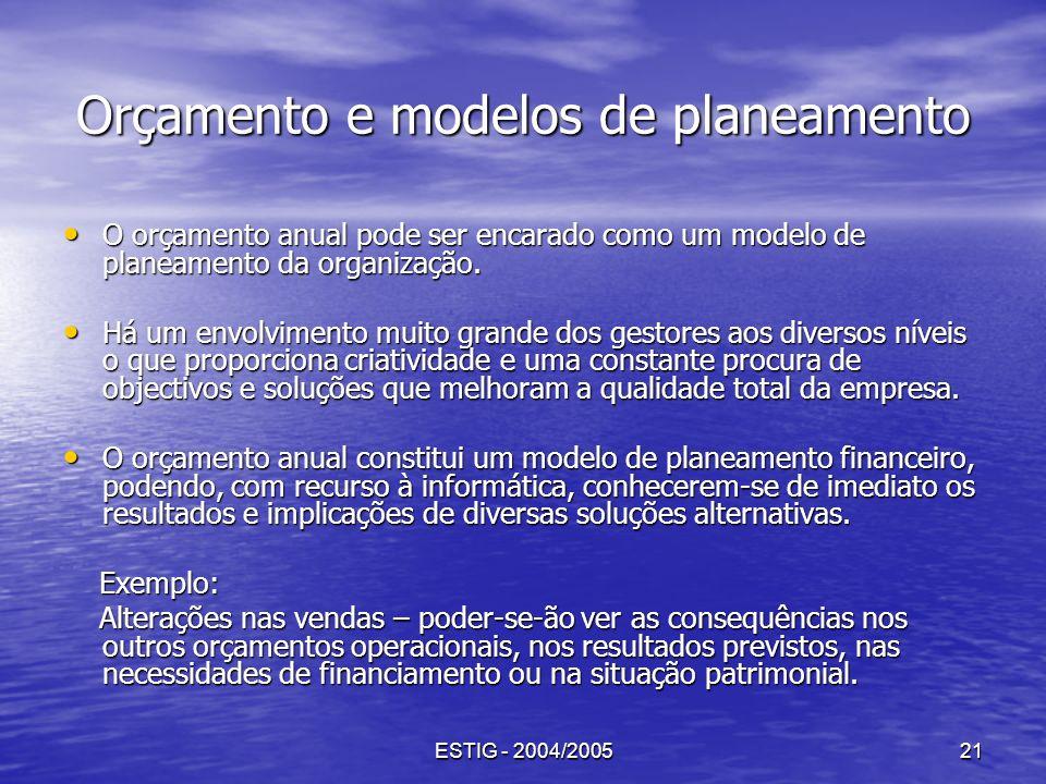 ESTIG - 2004/200521 Orçamento e modelos de planeamento O orçamento anual pode ser encarado como um modelo de planeamento da organização. O orçamento a