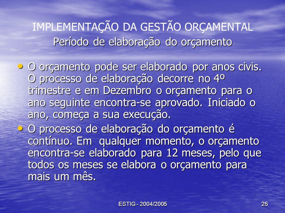 ESTIG - 2004/200525 Período de elaboração do orçamento IMPLEMENTAÇÃO DA GESTÃO ORÇAMENTAL Período de elaboração do orçamento O orçamento pode ser elab