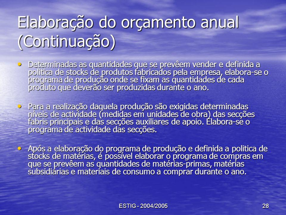 ESTIG - 2004/200528 Elaboração do orçamento anual (Continuação) Determinadas as quantidades que se prevêem vender e definida a politica de stocks de p