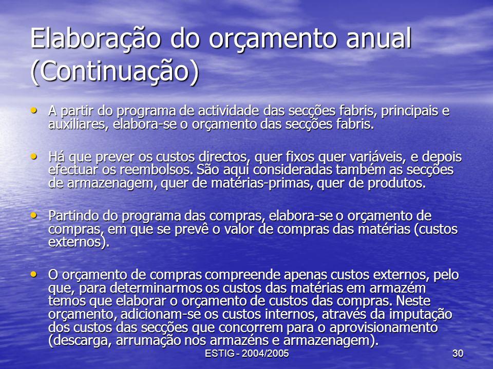 ESTIG - 2004/200530 Elaboração do orçamento anual (Continuação) A partir do programa de actividade das secções fabris, principais e auxiliares, elabor