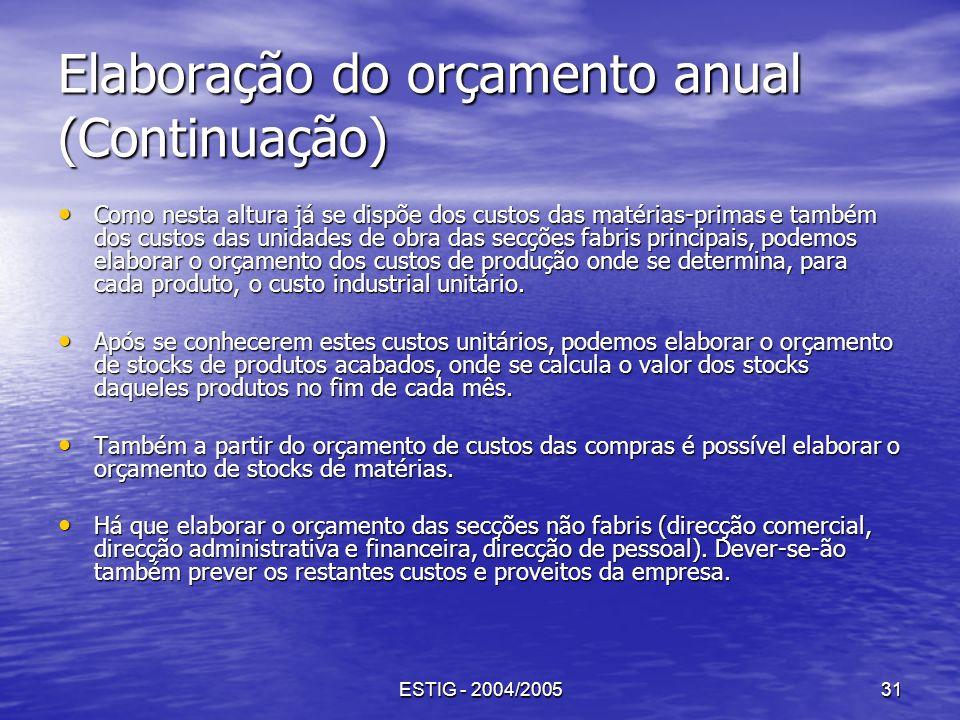 ESTIG - 2004/200531 Elaboração do orçamento anual (Continuação) Como nesta altura já se dispõe dos custos das matérias-primas e também dos custos das