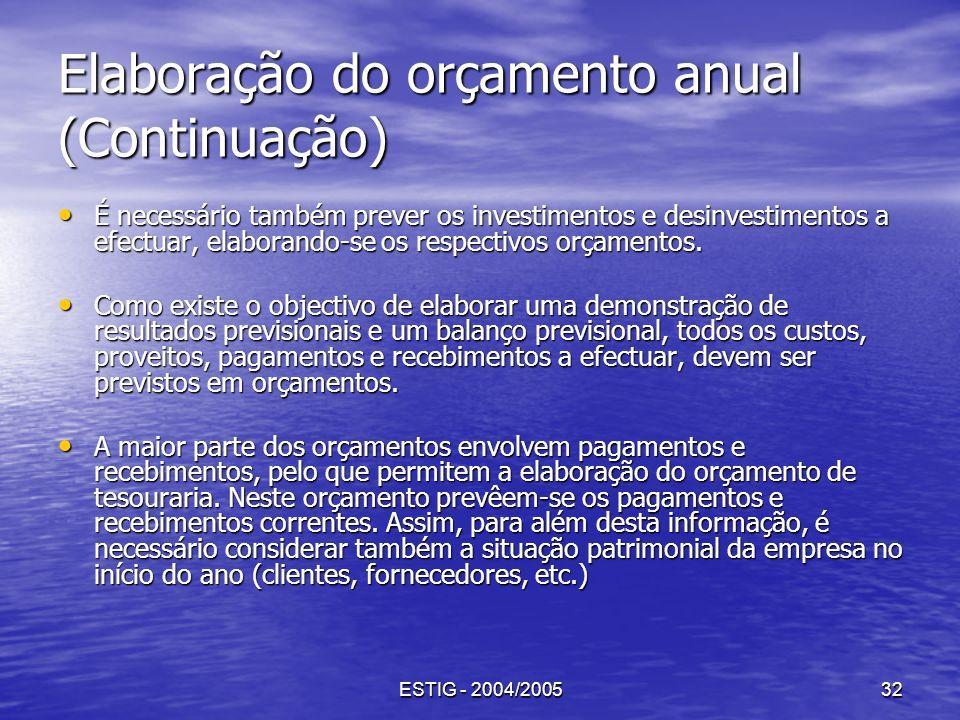 ESTIG - 2004/200532 Elaboração do orçamento anual (Continuação) É necessário também prever os investimentos e desinvestimentos a efectuar, elaborando-