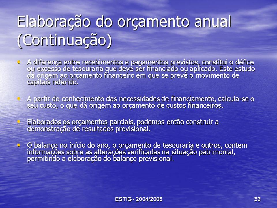 ESTIG - 2004/200533 Elaboração do orçamento anual (Continuação) A diferença entre recebimentos e pagamentos previstos, constitui o défice ou excesso d