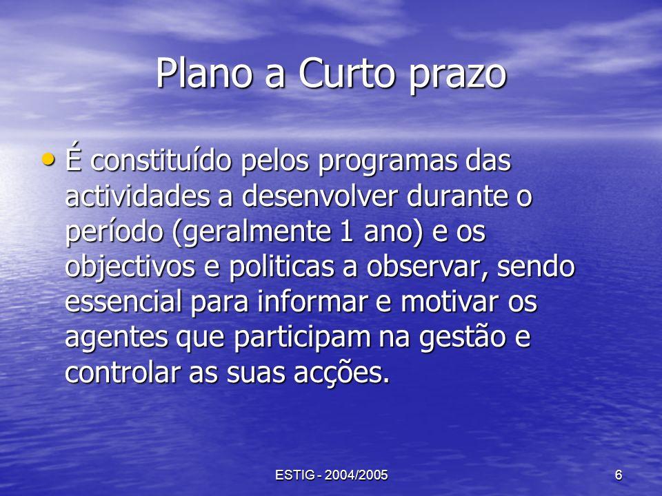 ESTIG - 2004/20056 Plano a Curto prazo É constituído pelos programas das actividades a desenvolver durante o período (geralmente 1 ano) e os objectivo