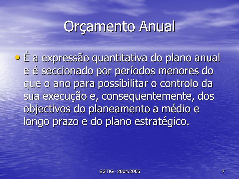 ESTIG - 2004/20057 Orçamento Anual É a expressão quantitativa do plano anual e é seccionado por períodos menores do que o ano para possibilitar o cont