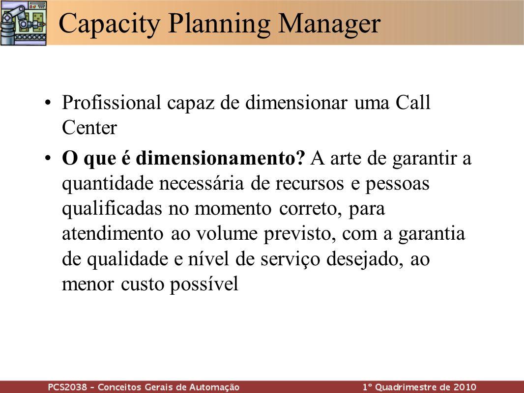 Capacity Planning Manager Profissional capaz de dimensionar uma Call Center O que é dimensionamento? A arte de garantir a quantidade necessária de rec
