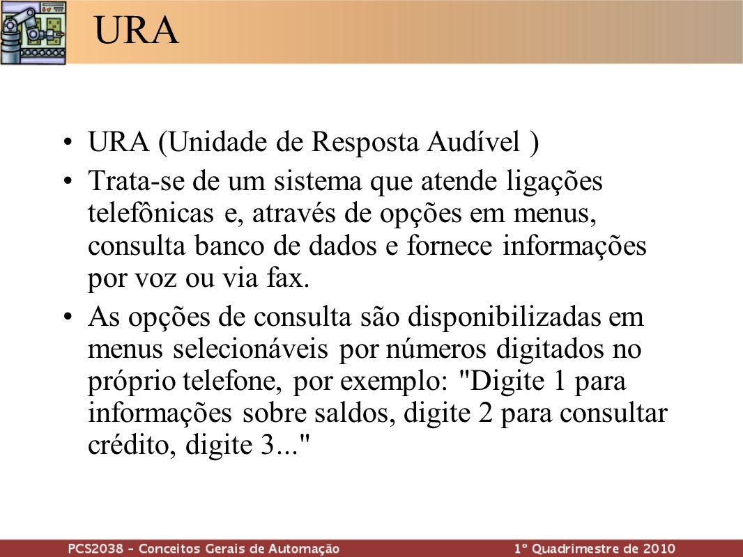 URA URA (Unidade de Resposta Audível ) Trata-se de um sistema que atende ligações telefônicas e, através de opções em menus, consulta banco de dados e