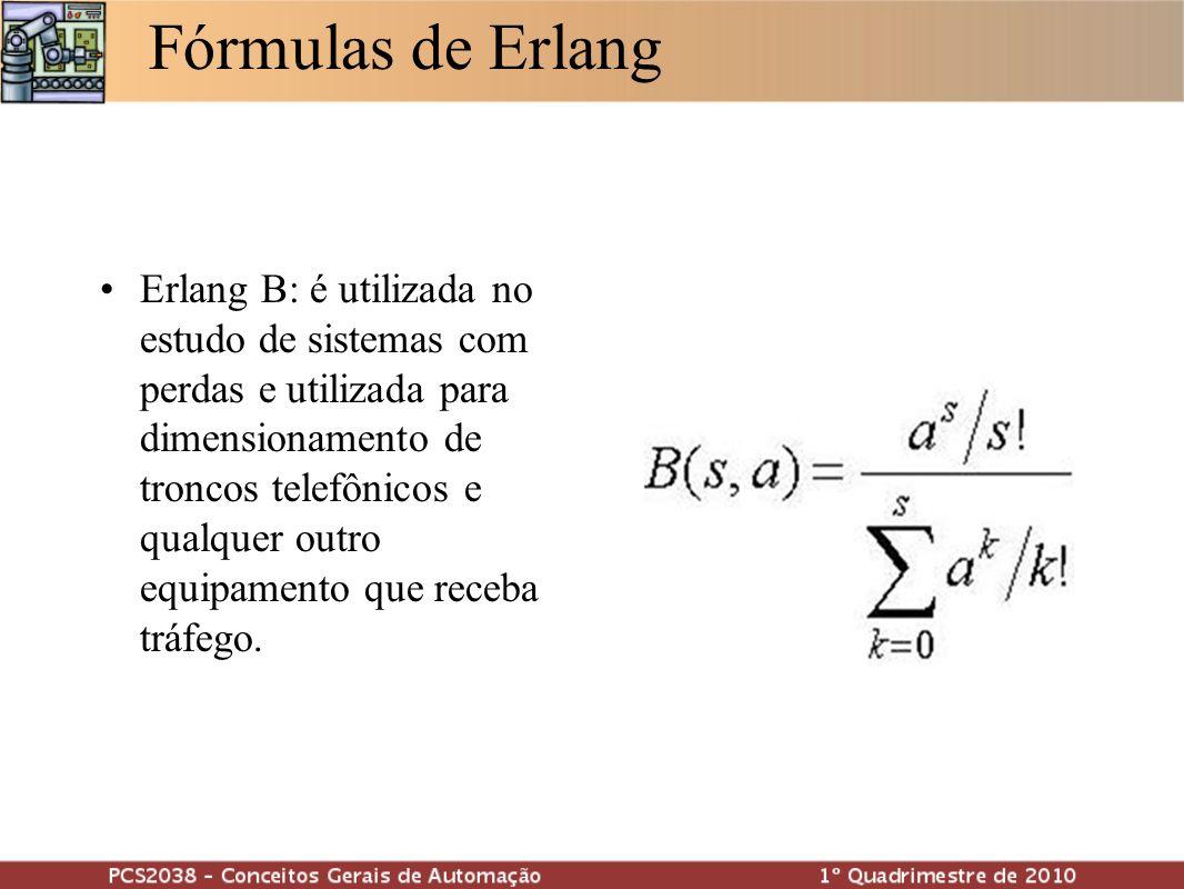 Fórmulas de Erlang Erlang C: é utilizada no estudo de sistemas com perdas e é utilizada para dimensionamento de recursos em qualquer sistema constituído por filas.