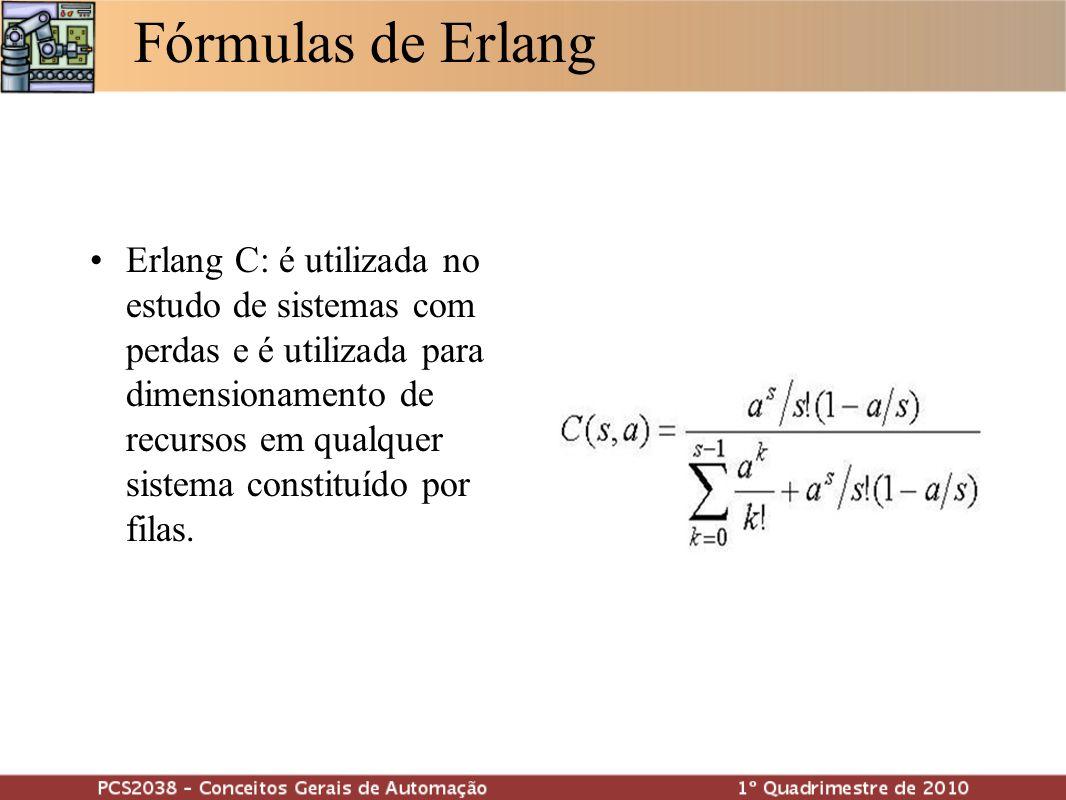 Fórmulas de Erlang Erlang C: é utilizada no estudo de sistemas com perdas e é utilizada para dimensionamento de recursos em qualquer sistema constituí