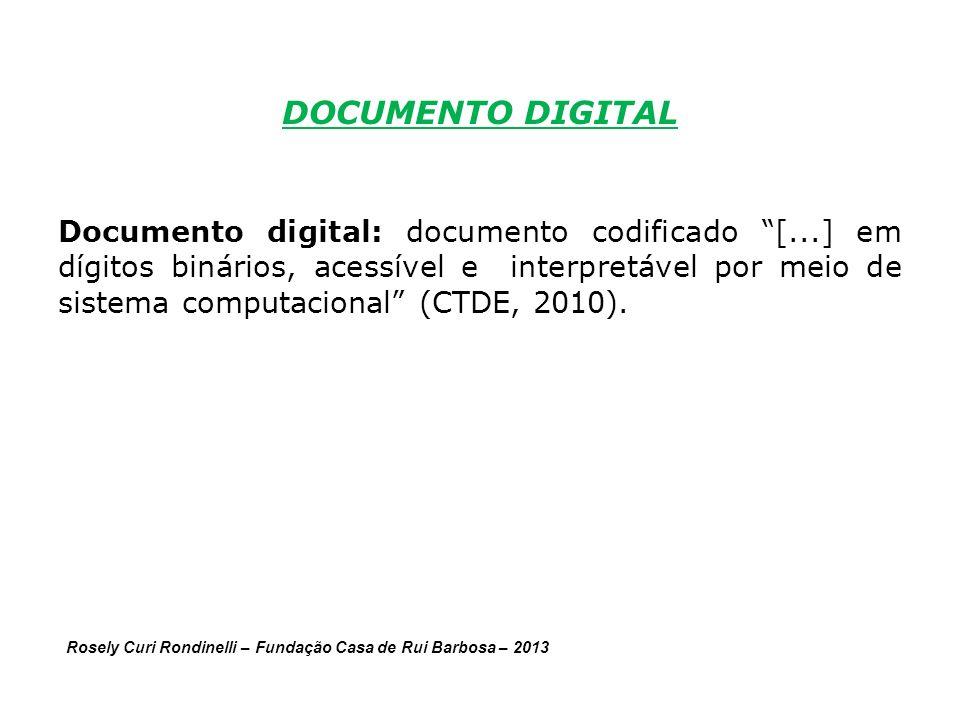 DOCUMENTO DIGITAL Documento digital: documento codificado [...] em dígitos binários, acessível e interpretável por meio de sistema computacional (CTDE, 2010).