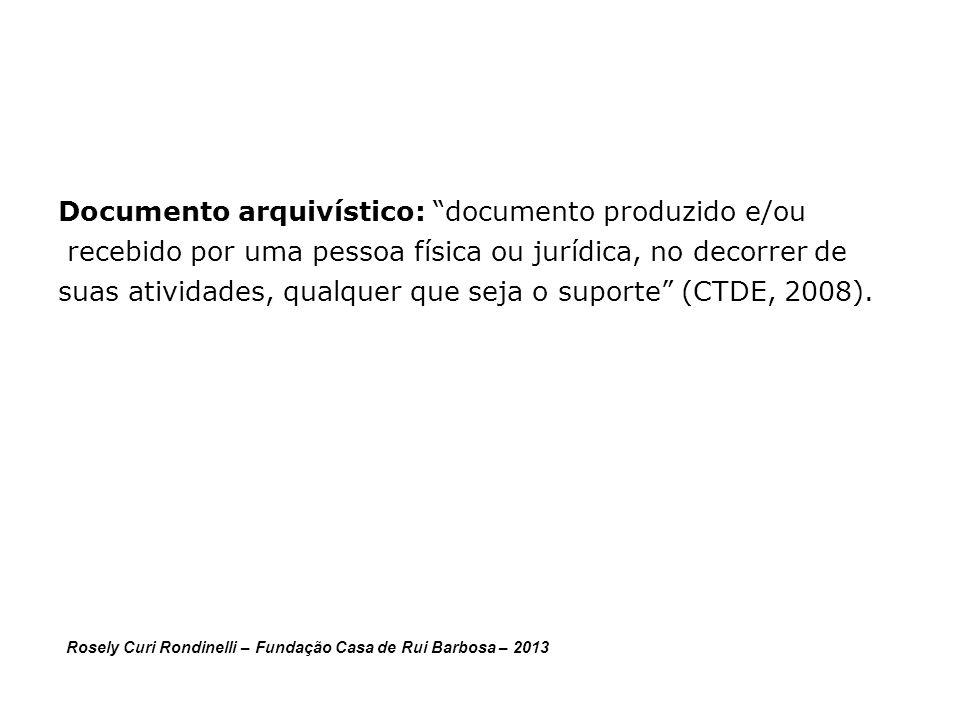 Documento arquivístico: documento produzido e/ou recebido por uma pessoa física ou jurídica, no decorrer de suas atividades, qualquer que seja o suporte (CTDE, 2008).