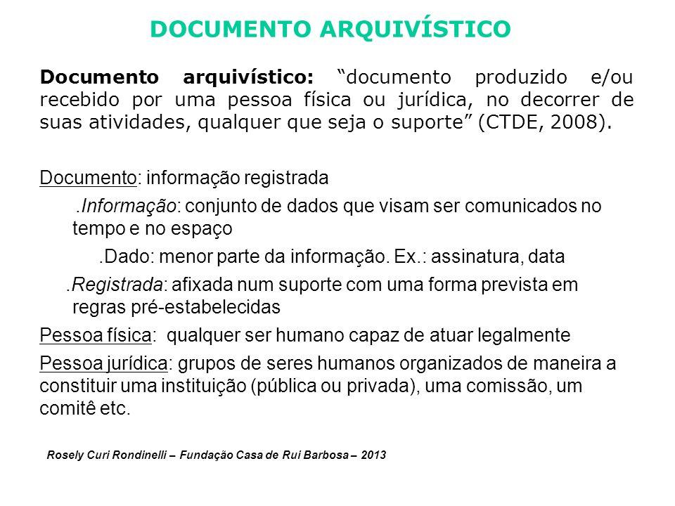 DOCUMENTO ARQUIVÍSTICO Documento arquivístico: documento produzido e/ou recebido por uma pessoa física ou jurídica, no decorrer de suas atividades, qualquer que seja o suporte (CTDE, 2008).