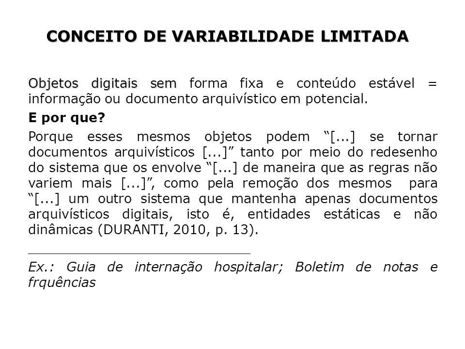 Objetos digitais sem Objetos digitais sem forma fixa e conteúdo estável = informação ou documento arquivístico em potencial.