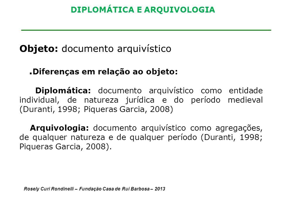 DIPLOMÁTICA E ARQUIVOLOGIA Objeto: documento arquivístico. Diferenças em relação ao objeto: Diplomática: documento arquivístico como entidade individu