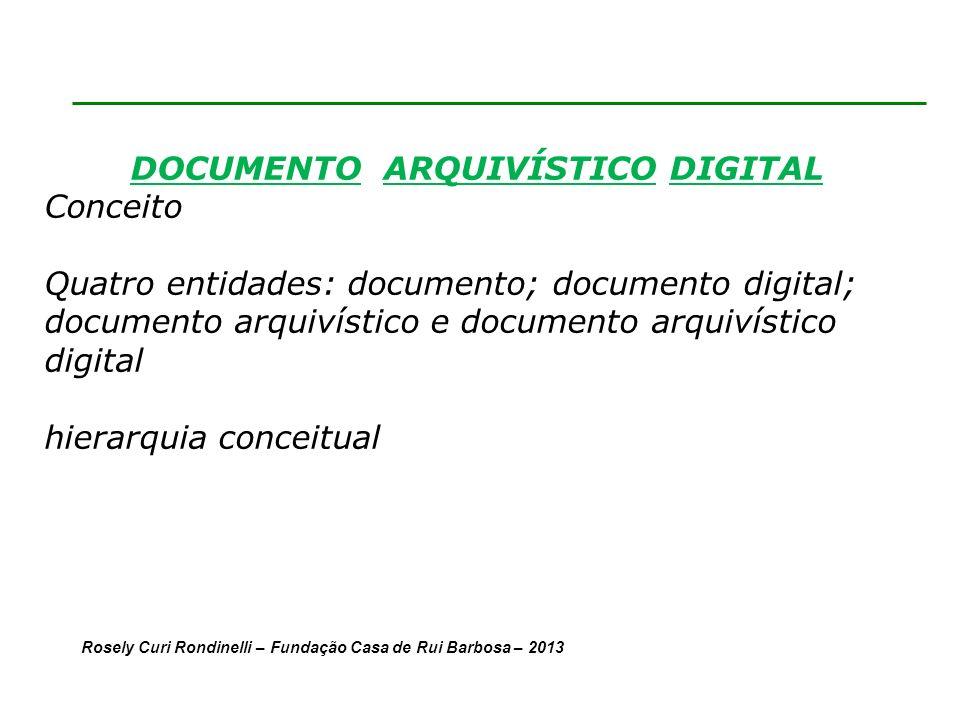 DOCUMENTO ARQUIVÍSTICO DIGITAL Conceito Quatro entidades: documento; documento digital; documento arquivístico e documento arquivístico digital hierarquia conceitual