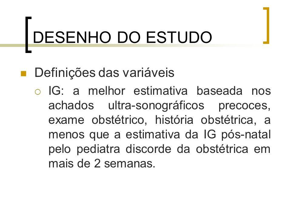 DESENHO DO ESTUDO Definições das variáveis IG: a melhor estimativa baseada nos achados ultra-sonográficos precoces, exame obstétrico, história obstétr