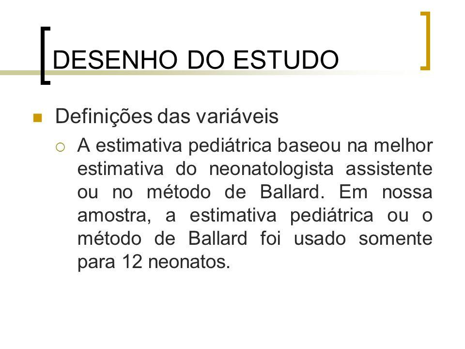 DESENHO DO ESTUDO Definições das variáveis A estimativa pediátrica baseou na melhor estimativa do neonatologista assistente ou no método de Ballard. E