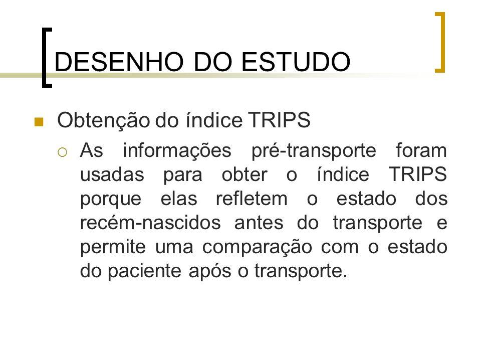 DESENHO DO ESTUDO Obtenção do índice TRIPS As informações pré-transporte foram usadas para obter o índice TRIPS porque elas refletem o estado dos recé