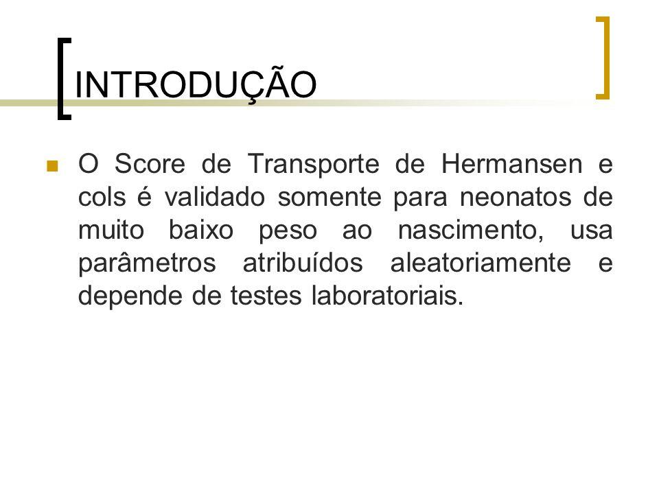 INTRODUÇÃO O Score de Transporte de Hermansen e cols é validado somente para neonatos de muito baixo peso ao nascimento, usa parâmetros atribuídos ale