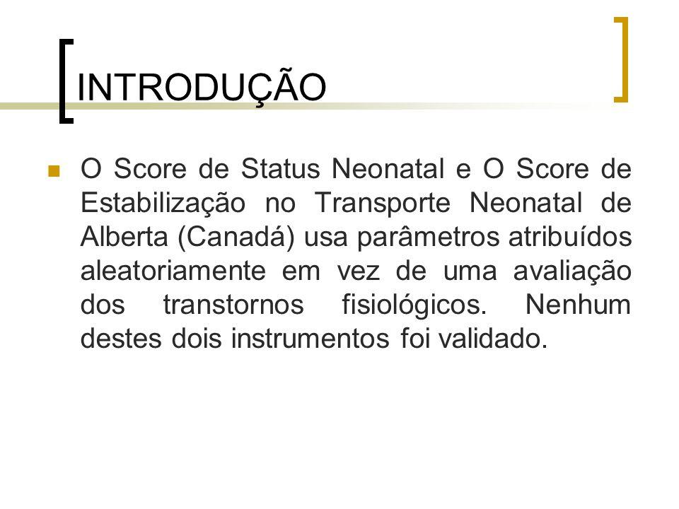 INTRODUÇÃO São scores baseados na gravidade da doença: Índice de Risco Clínico para Bebês (CRIB) Score para um Estado Fisiológico Neonatal Grave (SNAP-II) Não são adequados para o transporte porque eles exigem um levantamento de dados prolongado, acima de 12 horas.