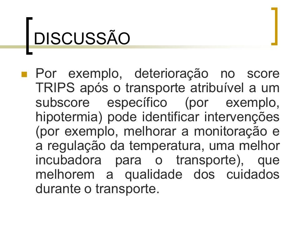DISCUSSÃO Por exemplo, deterioração no score TRIPS após o transporte atribuível a um subscore específico (por exemplo, hipotermia) pode identificar in
