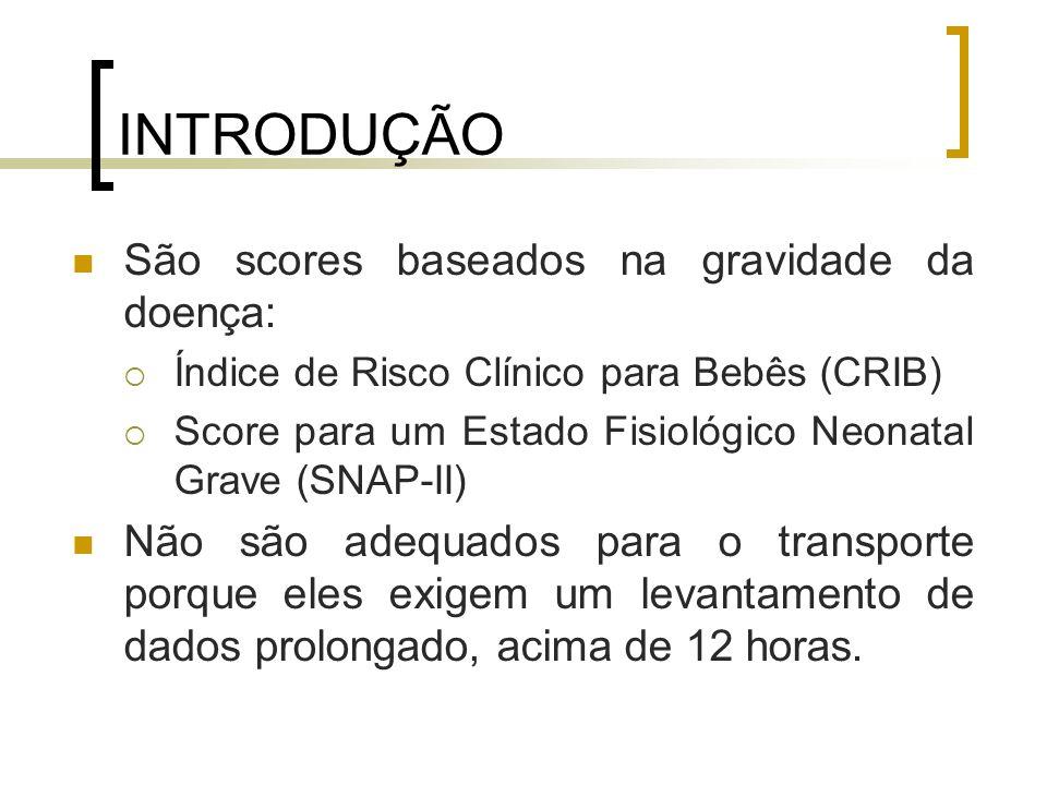 INTRODUÇÃO São scores baseados na gravidade da doença: Índice de Risco Clínico para Bebês (CRIB) Score para um Estado Fisiológico Neonatal Grave (SNAP