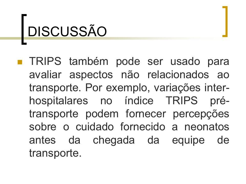 DISCUSSÃO TRIPS também pode ser usado para avaliar aspectos não relacionados ao transporte. Por exemplo, variações inter- hospitalares no índice TRIPS